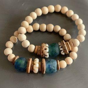 Set of 2 Anthropologie wood & glass bracelets